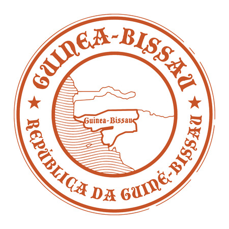 bissau: Grunge rubber stamp with the name and map of Guinea Bissau
