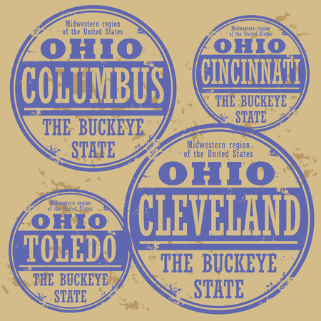 Grunge rubber stamp set with names of Ohio cities Vector