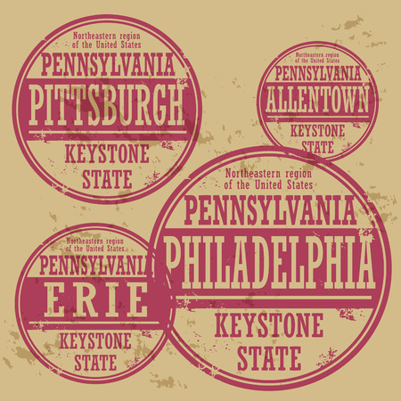 erie: Grunge rubber stamp set with names of Pennsylvania cities