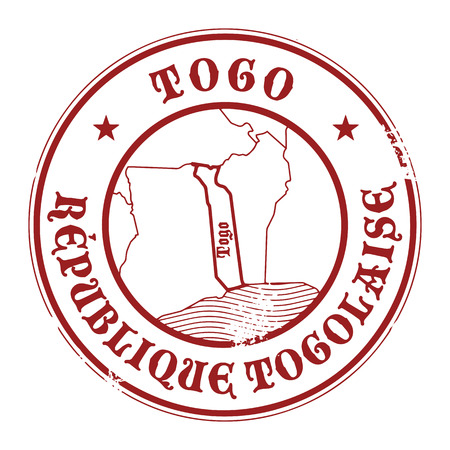 Grunge rubber stamp with the name and map of Togo Vector