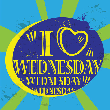Grunge label with the text I love Wednesday written inside Vector