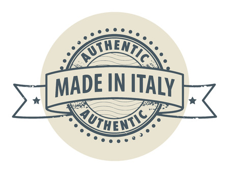 Grunge rubber stamp with the text Authentic, Made in Italy written inside the stamp Vector