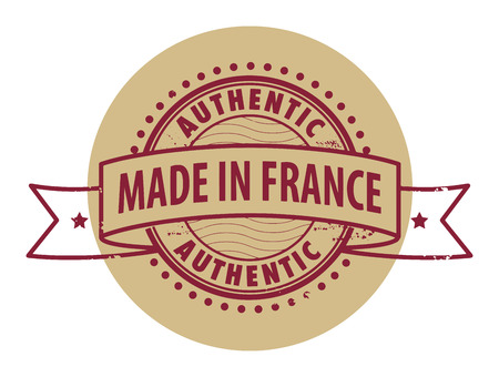 Grunge rubber stamp with the text Authentic, Made in France written inside the stamp Vector
