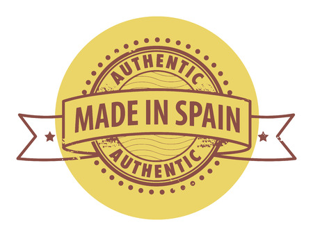 made in spain: Grunge rubber stamp with the text Authentic, Made in Spain written inside the stamp Illustration