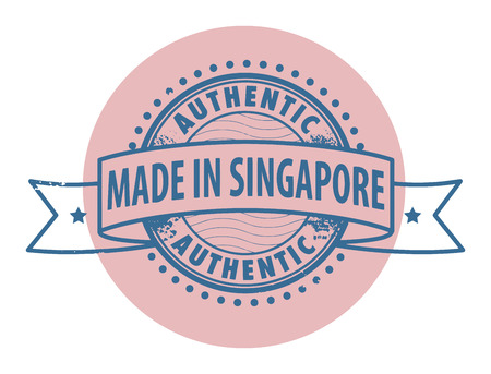 Grunge rubber stamp with the text Authentic, Made in Singapore written inside the stamp Vector