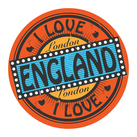 Grunge color stamp with text I Love England inside Vector