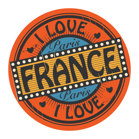 Grunge color stamp with text I Love France inside Vector