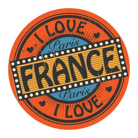 france stamp: Grunge color stamp with text I Love France inside Illustration