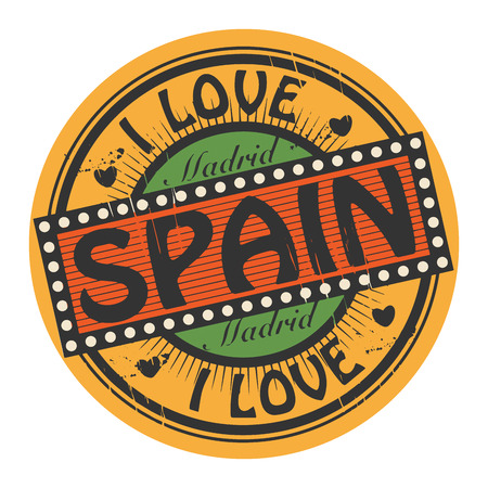 Grunge color stamp with text I Love Spain inside Vector