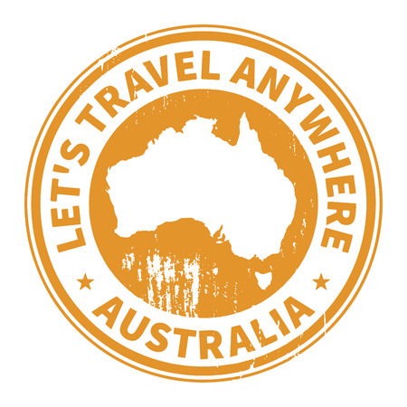 australia stamp: Grunge rubber stamp with the text Travel Australia written inside the stamp