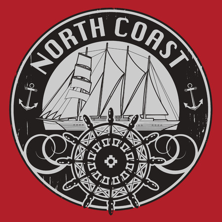 ship wheel: Grunge stamp or label with the words North Coast written inside the stamp Illustration