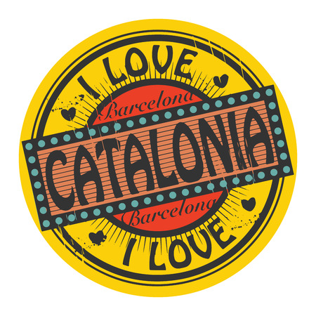catalonia: Grunge color stamp with text I Love Catalonia inside
