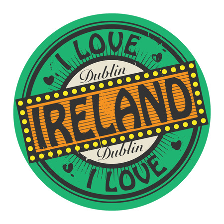 dublin: Grunge color stamp with text I Love Ireland inside