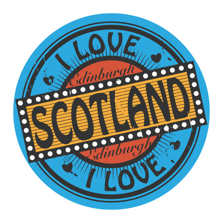 Grunge color stamp with text I Love Scotland inside Stock Vector - 24190922