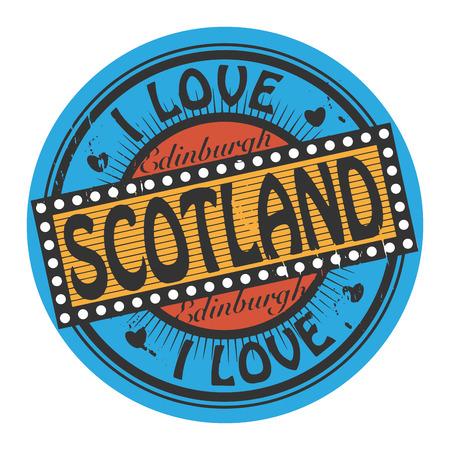 edinburgh: Grunge Farbe Stempel mit Text Ich liebe Schottland innen Illustration