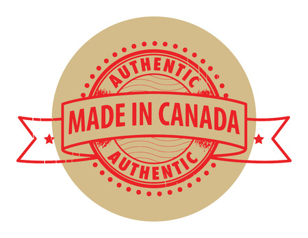 canada stamp: Grunge rubber stamp with the text Authentic, Made in Canada written inside the stamp Illustration