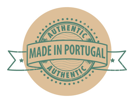 Grunge rubber stamp with the text Authentic, Made in Portugal written inside the stamp Vector