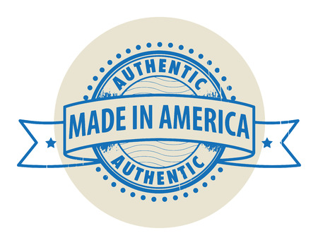 Grunge rubber stamp with the text Authentic, Made in America written inside the stamp Vector