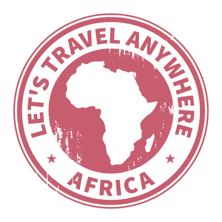 travelers: Grunge rubber stamp with the text Travel Africa written inside the stamp