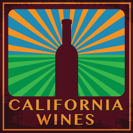wines: Abstract label with words California Wines