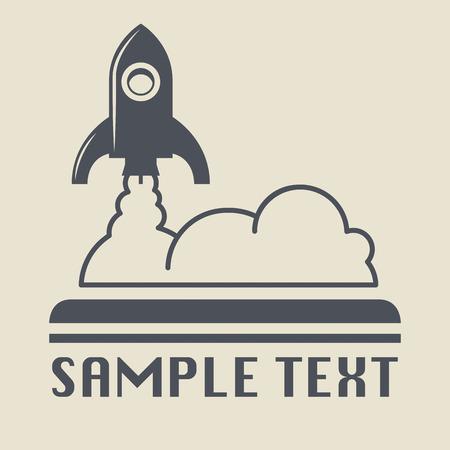 espaço: Ícone do foguete retro ou sinal Ilustração