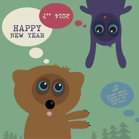 new year eve: New Year  Eve greeting card Illustration