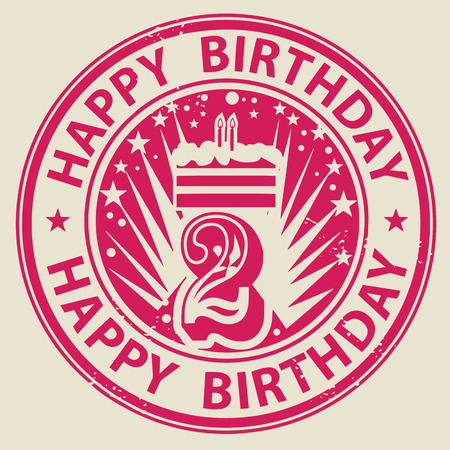 Grunge rubber stamp with candles, cake and the text Happy Birthday written inside the stamp Vector