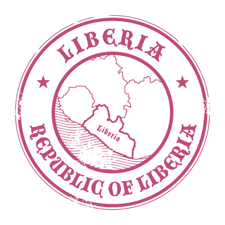 liberia: Grunge rubber stamp with the name and map of Liberia