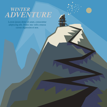 Winter mountain adventure background Vector