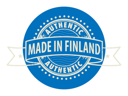 Grunge rubber stamp with the text Authentic, Made in Finland written inside the stamp Vector