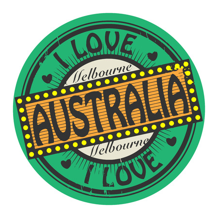 Grunge color stamp with text I Love Australia inside Vector