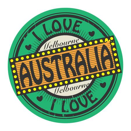 melbourne: Grunge color stamp with text I Love Australia inside