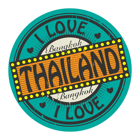 Grunge color stamp with text I Love Thailand inside Vector