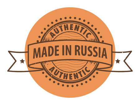 made in russia: Grunge rubber stamp with the text Authentic, Made in Russia written inside the stamp
