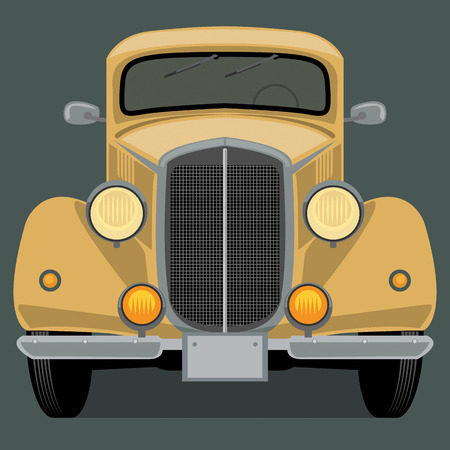 car front: Vintage, retro car Illustration