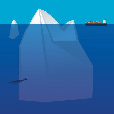 Cargo Container Ship in arctic ocean Stock Vector - 24419329