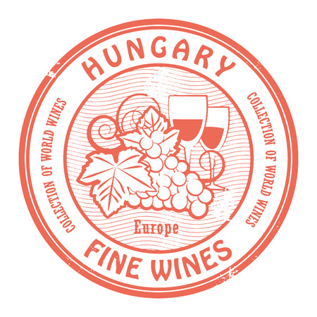 blanc: Grunge rubber stamp with words Hungary, Fine Wines Illustration