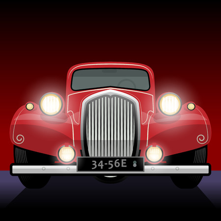 front wheel: Vintage, retro car Illustration