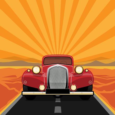 antique car: Vintage, retro car Illustration