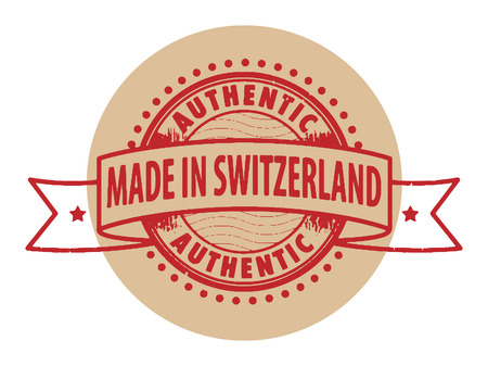 Grunge rubber stamp with the text Authentic, Made in Switzerland written inside the stamp