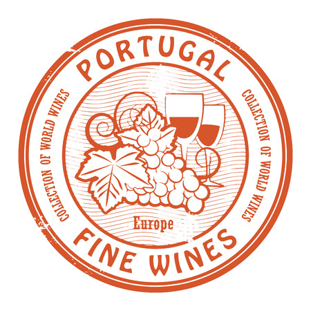 wines: Grunge rubber stamp with words Portugal, Fine Wines