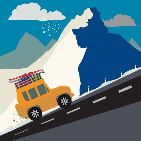 Fondo de aventura de montaña de invierno