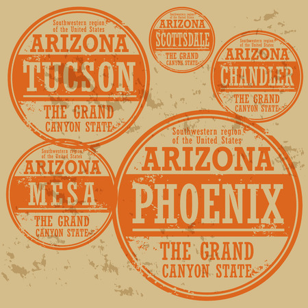 phoenix arizona: Grunge rubber stamp set with names of Arizona cities