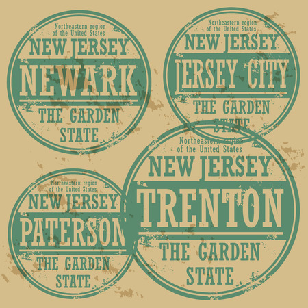 jersey: Grunge rubber stamp set with names of New Jersey cities