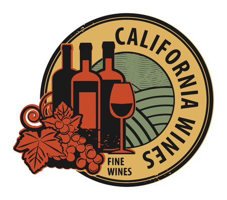 blanc: Grunge rubber stamp with words California, Fine Wines Illustration