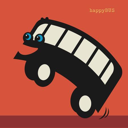 coach bus: Happy cartoon bus