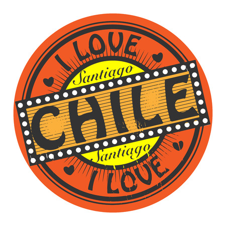 santiago: Grunge color stamp with text I Love Chile inside