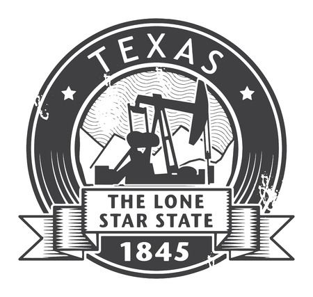 oil well: Grunge stamp or label with name of Texas