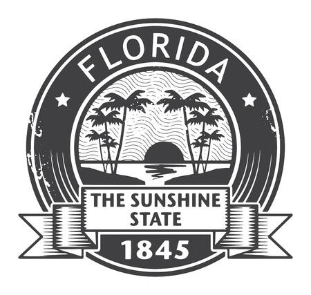 Tampon en caoutchouc grunge avec le nom de la Floride