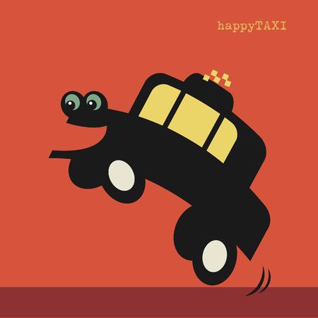 cartoon transportation: Happy cartoon taxi car